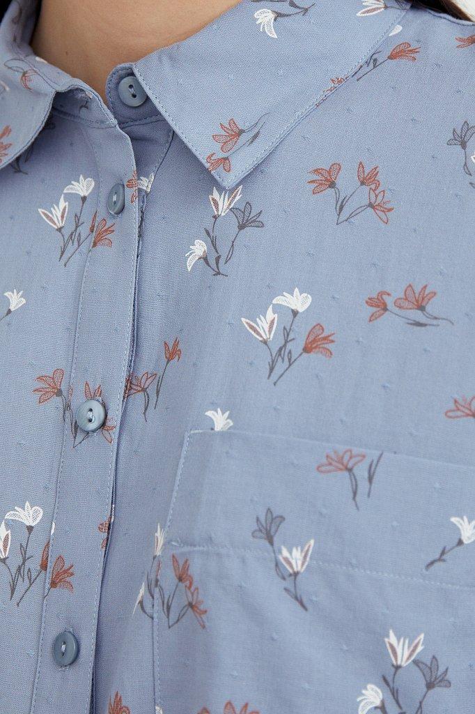 Рубашка оверсайз из хлопка, Модель S21-11019, Фото №5