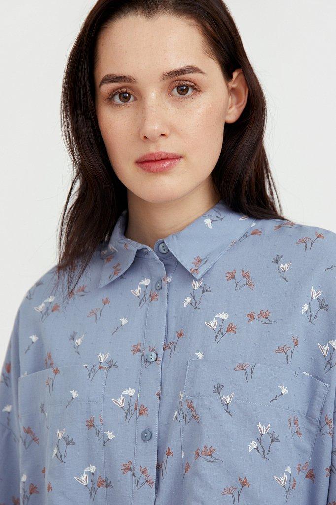 Рубашка оверсайз из хлопка, Модель S21-11019, Фото №6