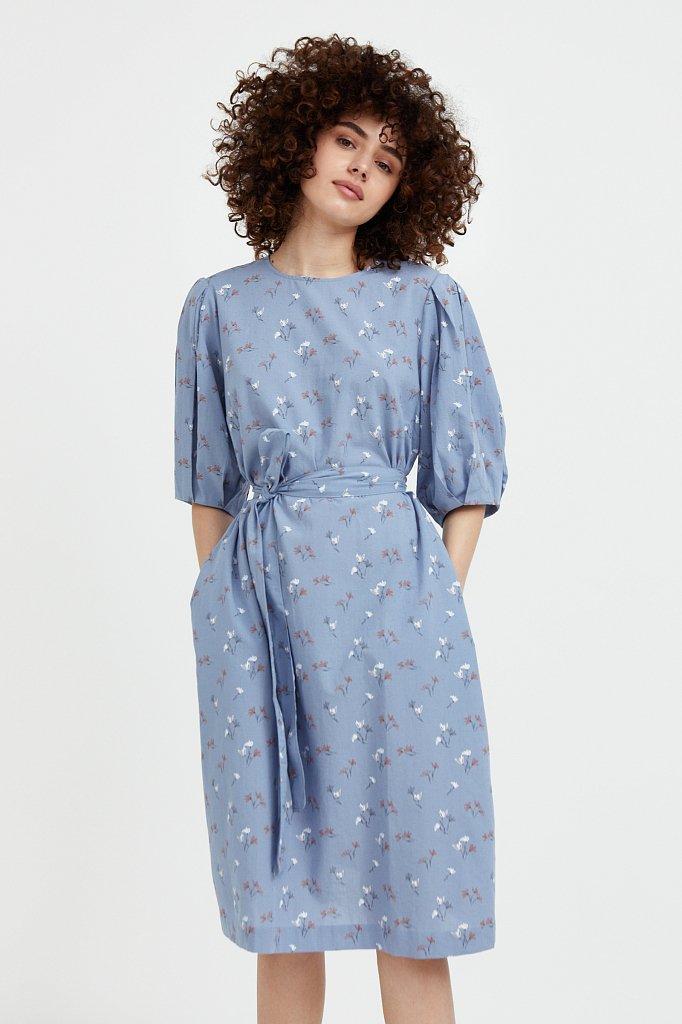 Хлопковое платье с цветочным принтом, Модель S21-11030, Фото №1