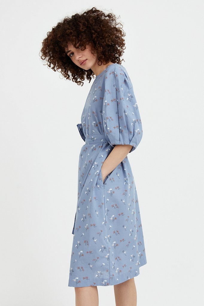 Хлопковое платье с поясом, Модель S21-11030, Фото №3