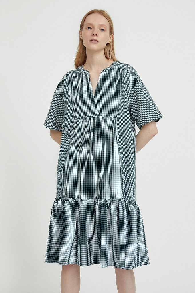Свободное платье в клетку, Модель S21-14056, Фото №1