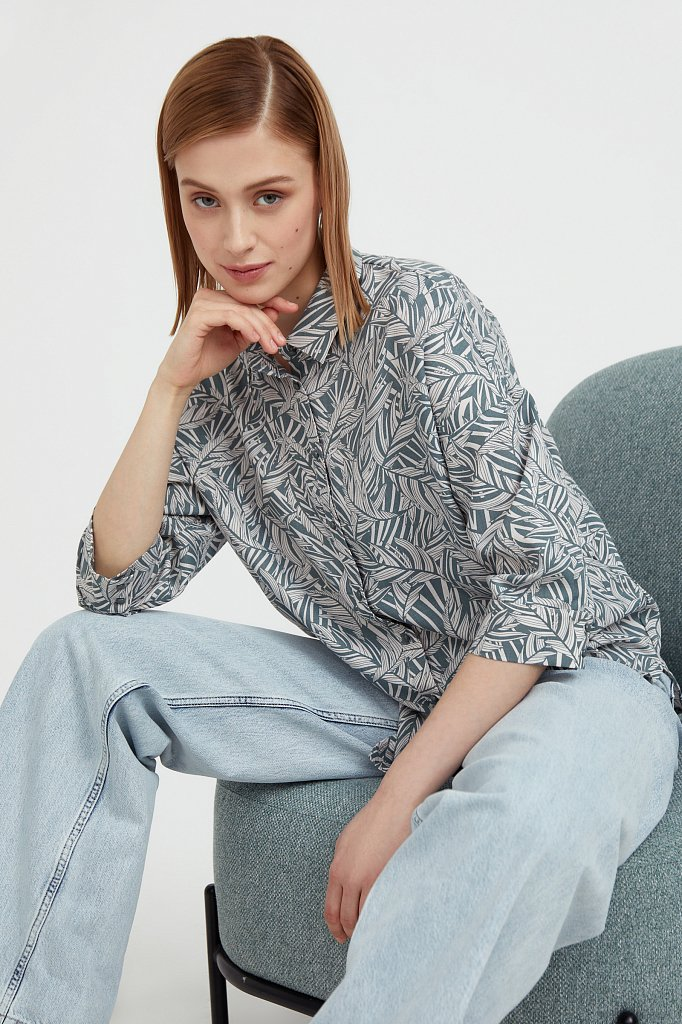 Рубашка с растительным орнаментом, Модель S21-14081, Фото №1