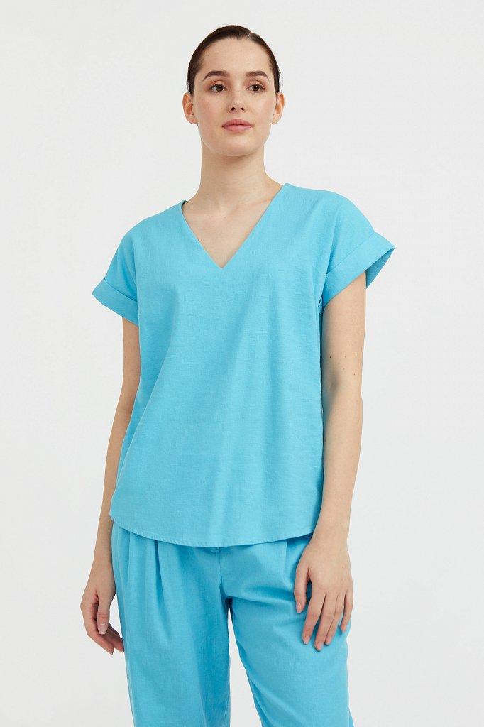 Однотонная льняная футболка, Модель S21-12017, Фото №2