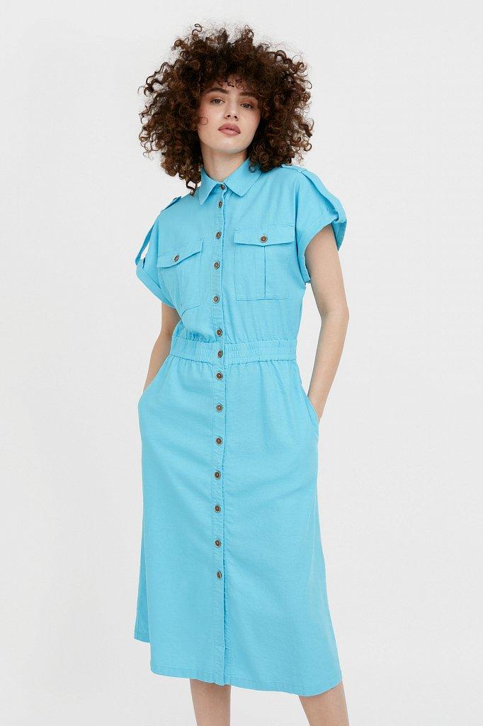 Платье-рубашка с короткими рукавами, Модель S21-12028, Фото №1