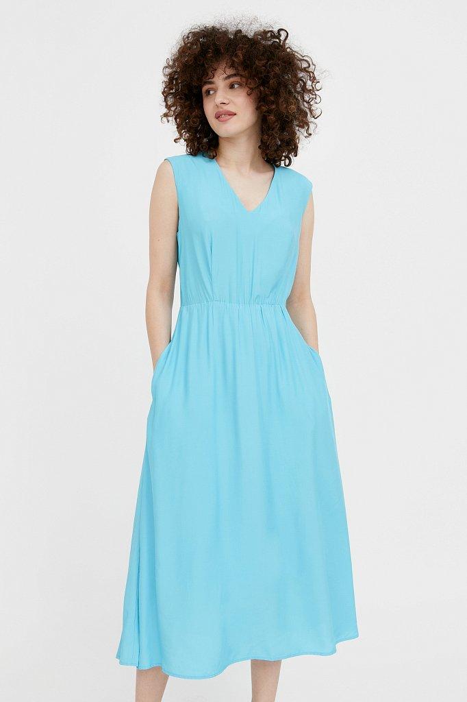 Платье-миди с V-образным вырезом, Модель S21-32009, Фото №1