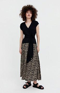 Комбинированное платье из вискозы S21-14003