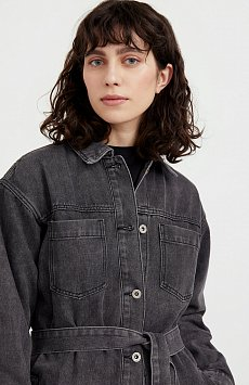 Джинсовая куртка-рубашка с поясом S21-15017