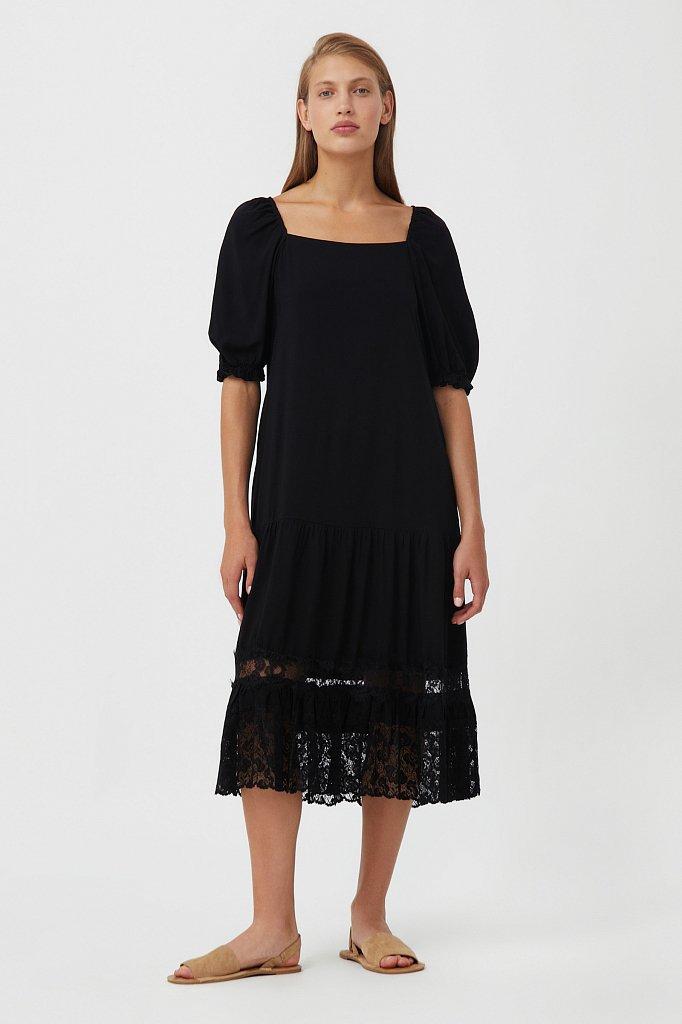 Платье свободного кроя с кружевом, Модель S21-110108, Фото №1