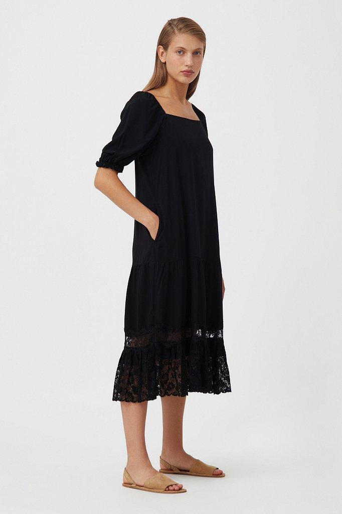 Платье свободного кроя с кружевом, Модель S21-110108, Фото №2