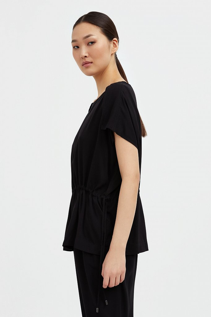 Однотонная блузка на кулиске, Модель S21-12024, Фото №3
