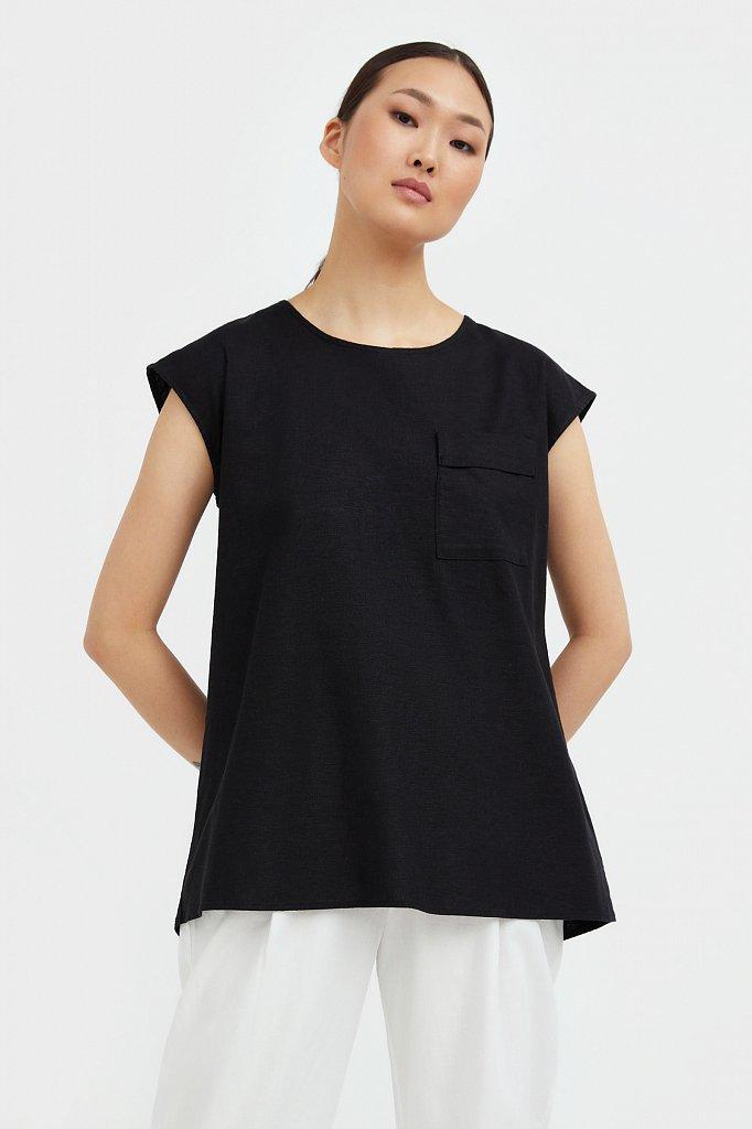 Льняная блузка асимметричного кроя, Модель S21-12026, Фото №2