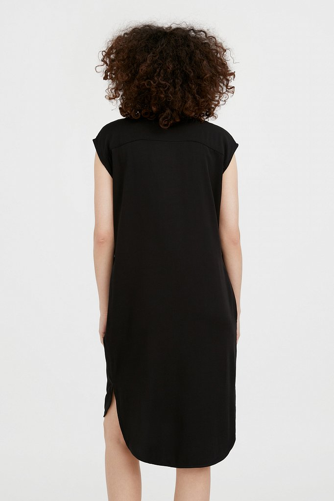 Платье прямого кроя с отложным воротником, Модель S21-12090, Фото №4
