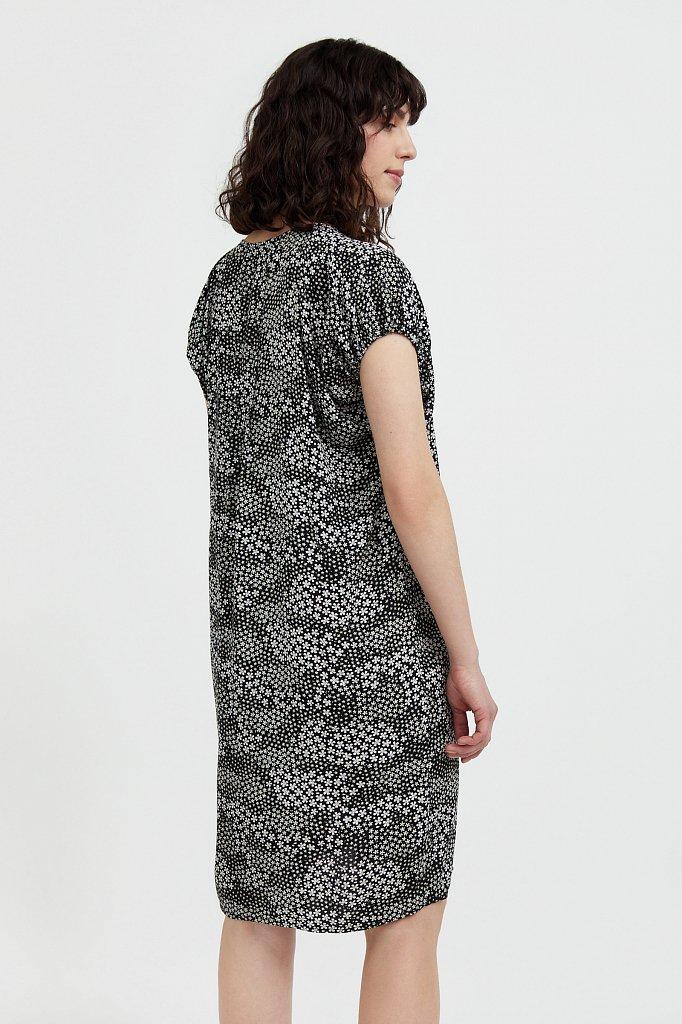 Платье с цветочным принтом из мягкой вискозы, Модель S21-12093, Фото №4
