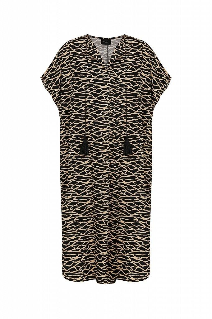 Свободное платье с принтом и завязками, Модель S21-14000, Фото №7