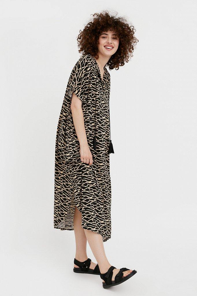 Свободное платье с принтом и завязками, Модель S21-14000, Фото №3