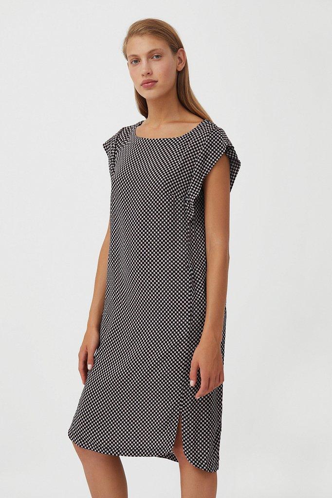 Платье из вискозы с геометричным принтом, Модель S21-14080, Фото №3