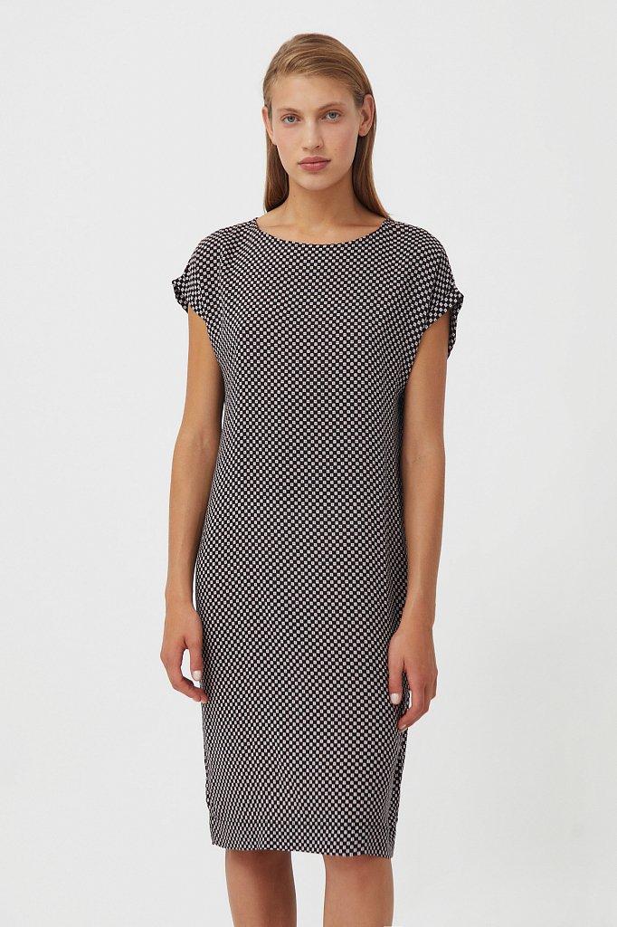 Прямое платье с геометричным принтом, Модель S21-14087, Фото №1