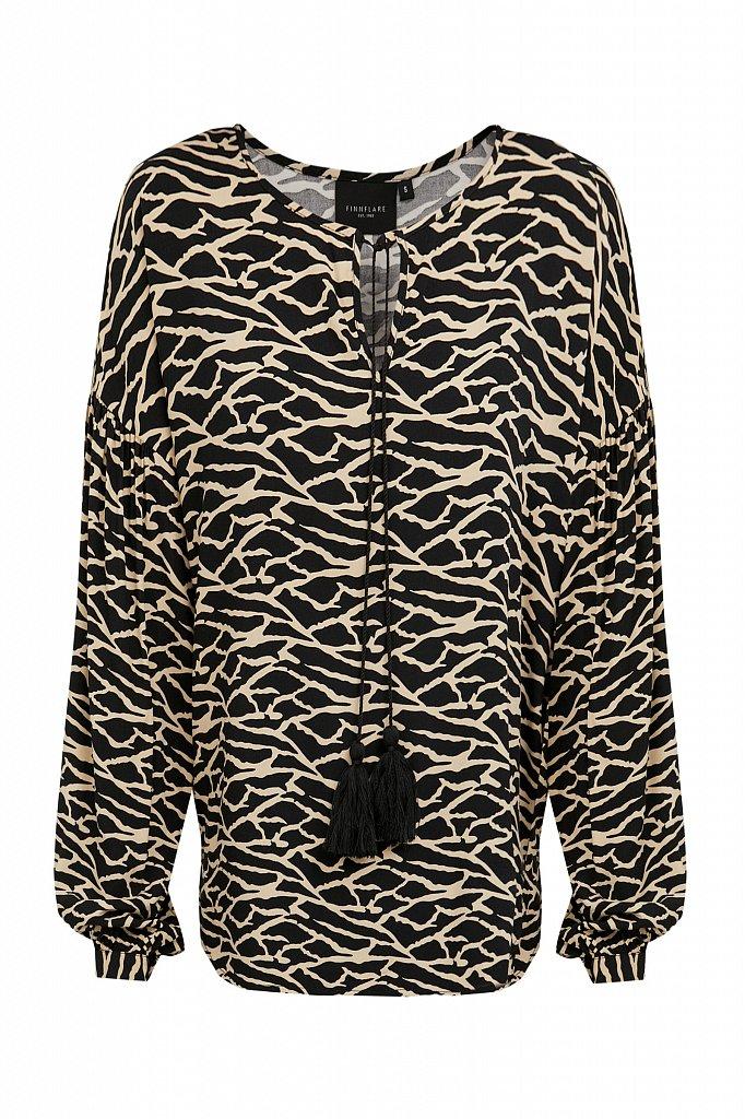 Свободная блуза с завязками-кисточками, Модель S21-14088, Фото №7
