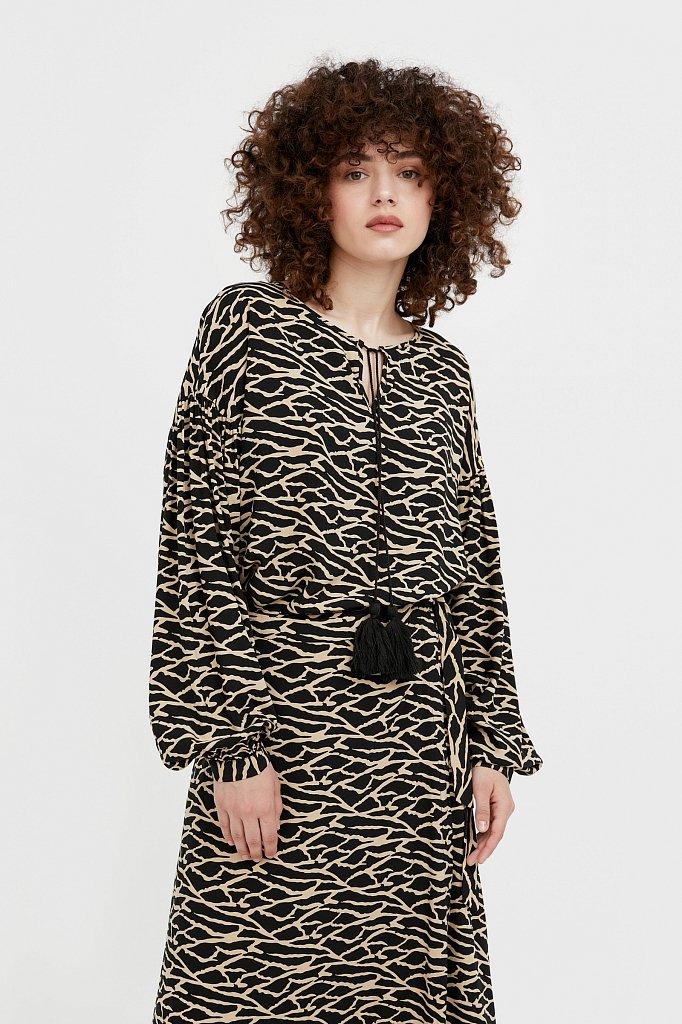 Свободная блуза с завязками-кисточками, Модель S21-14088, Фото №2