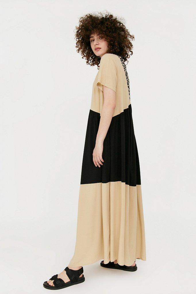 Комбинированное платье-макси, Модель S21-14089, Фото №3