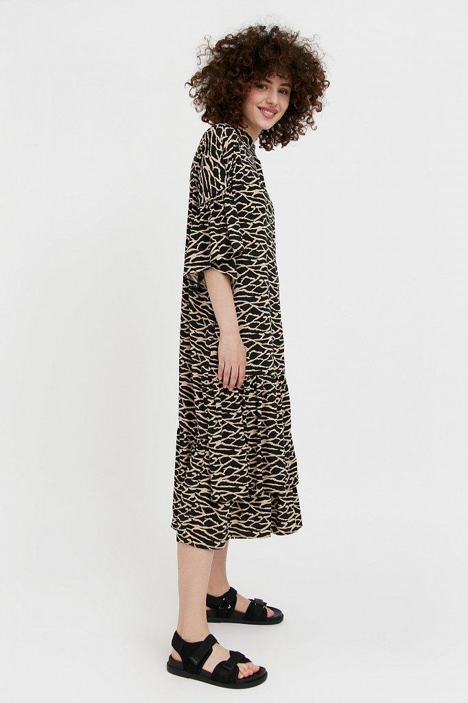 Платье-миди с асимметричными воланами, Модель S21-14090, Фото №3