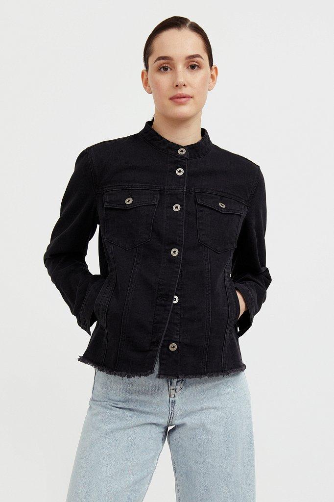 Джинсовая куртка с воротником-стойкой, Модель S21-15014, Фото №1