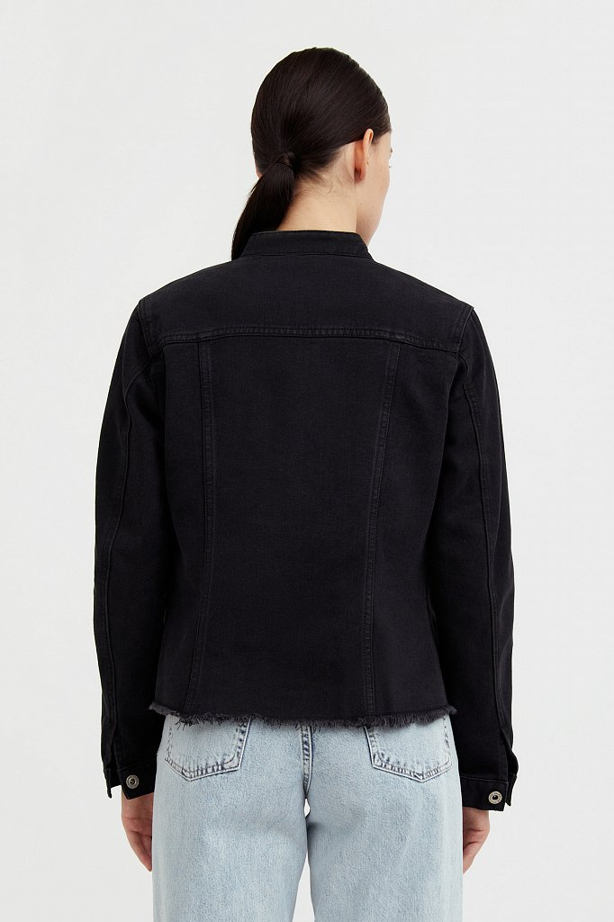 Джинсовая куртка с воротником-стойкой, Модель S21-15014, Фото №4
