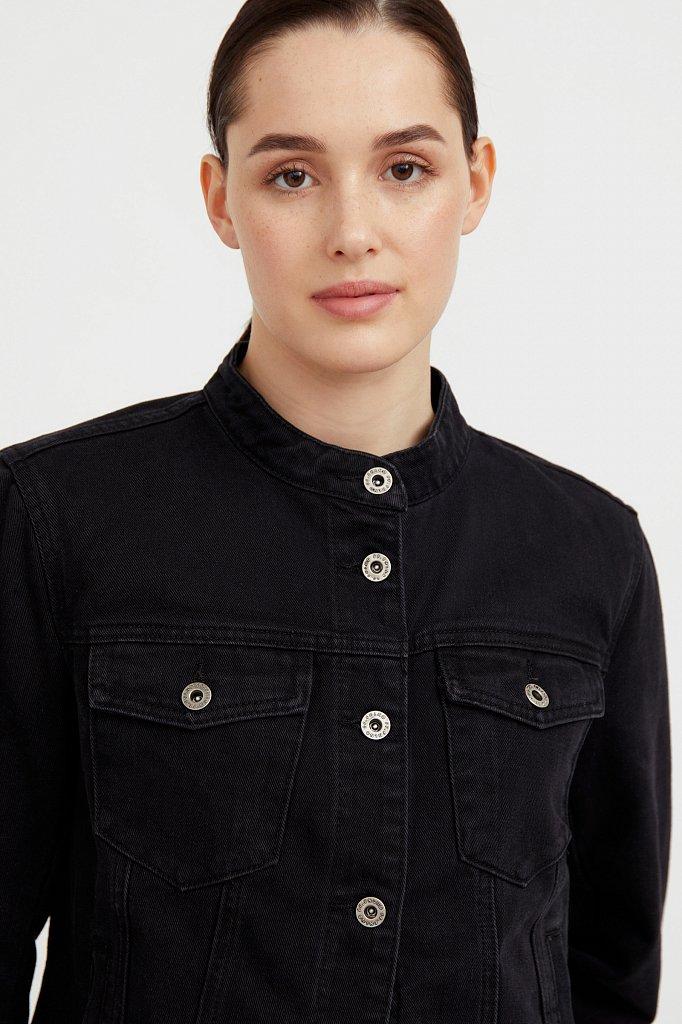 Джинсовая куртка с воротником-стойкой, Модель S21-15014, Фото №6