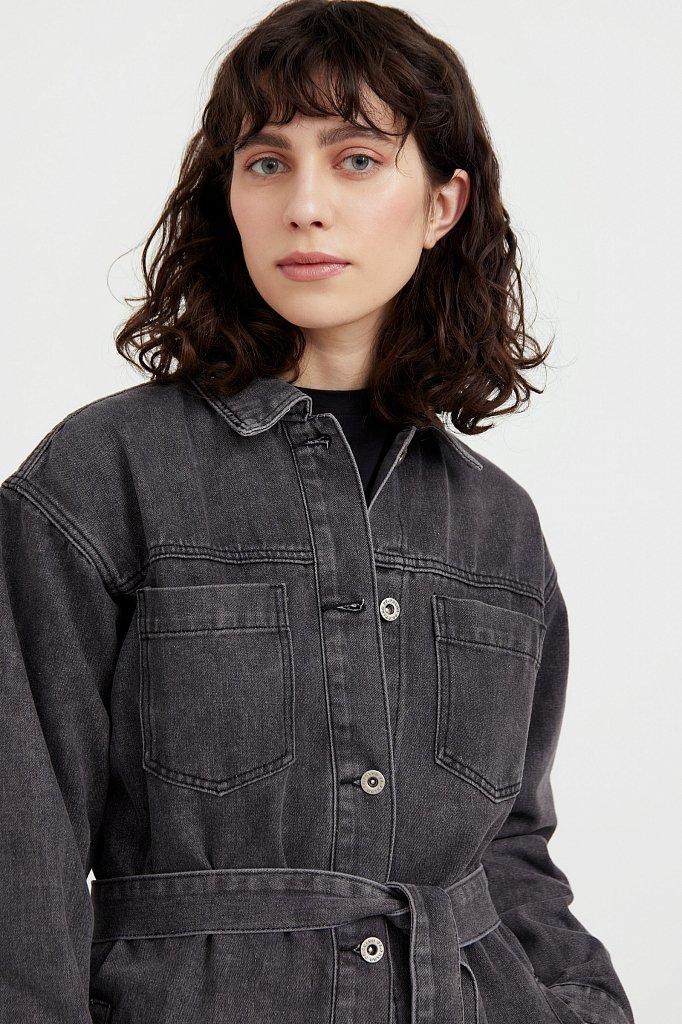 Джинсовая куртка-рубашка с поясом, Модель S21-15017, Фото №1