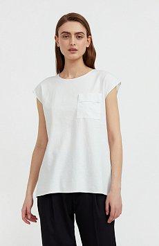 Льняная блузка асимметричного кроя S21-12026