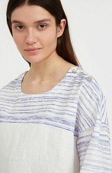 Свободная блузка с полосатым принтом S21-14037