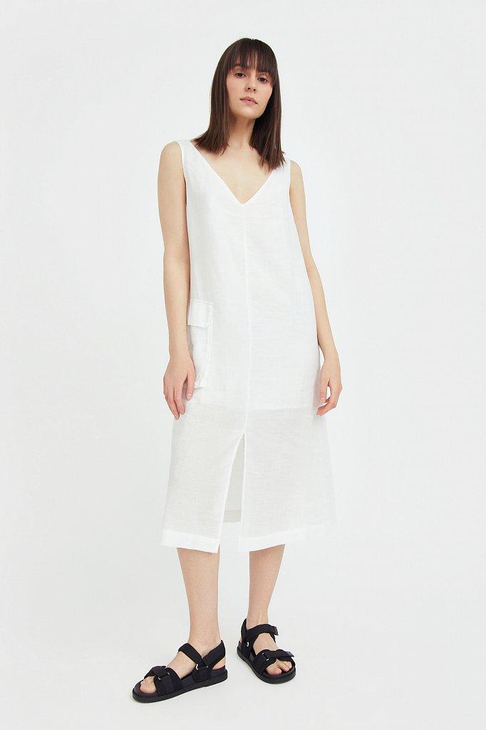 Платье прямого кроя из натуральной ткани рами, Модель S21-110115, Фото №1