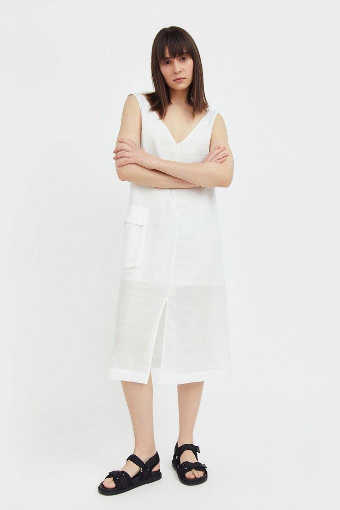 Платье прямого кроя из натуральной ткани рами, Модель S21-110115, Фото №2