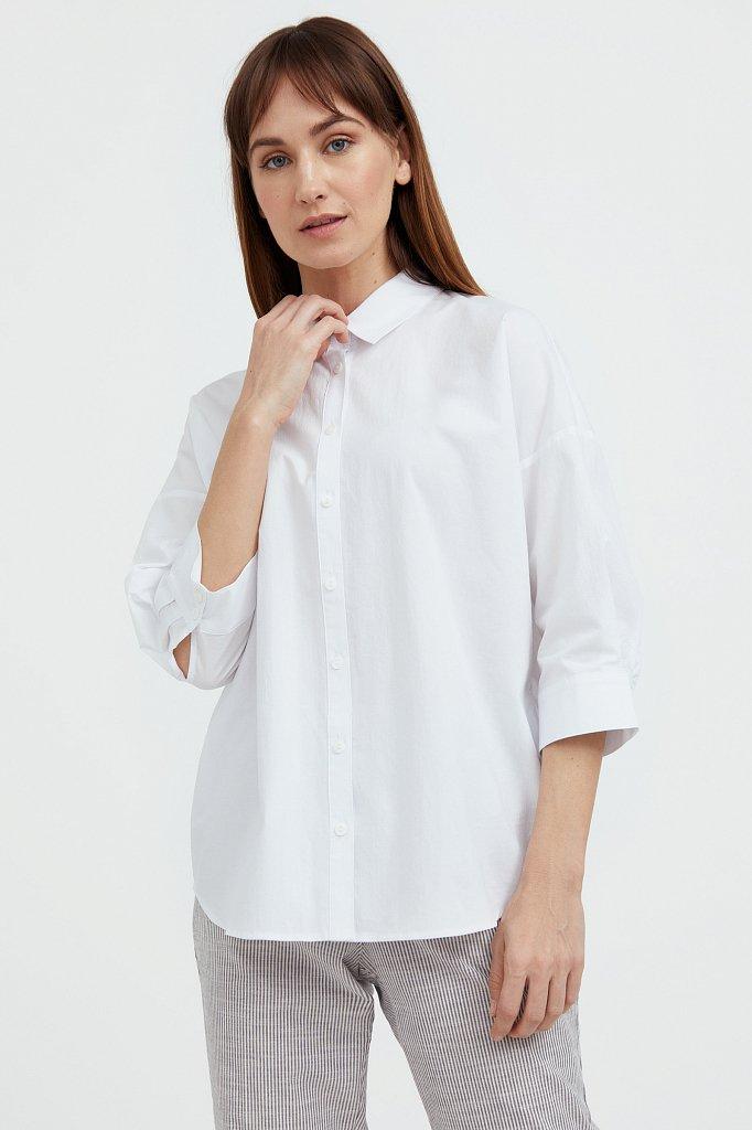 Свободная хлопковая рубашка, Модель S21-11029, Фото №2