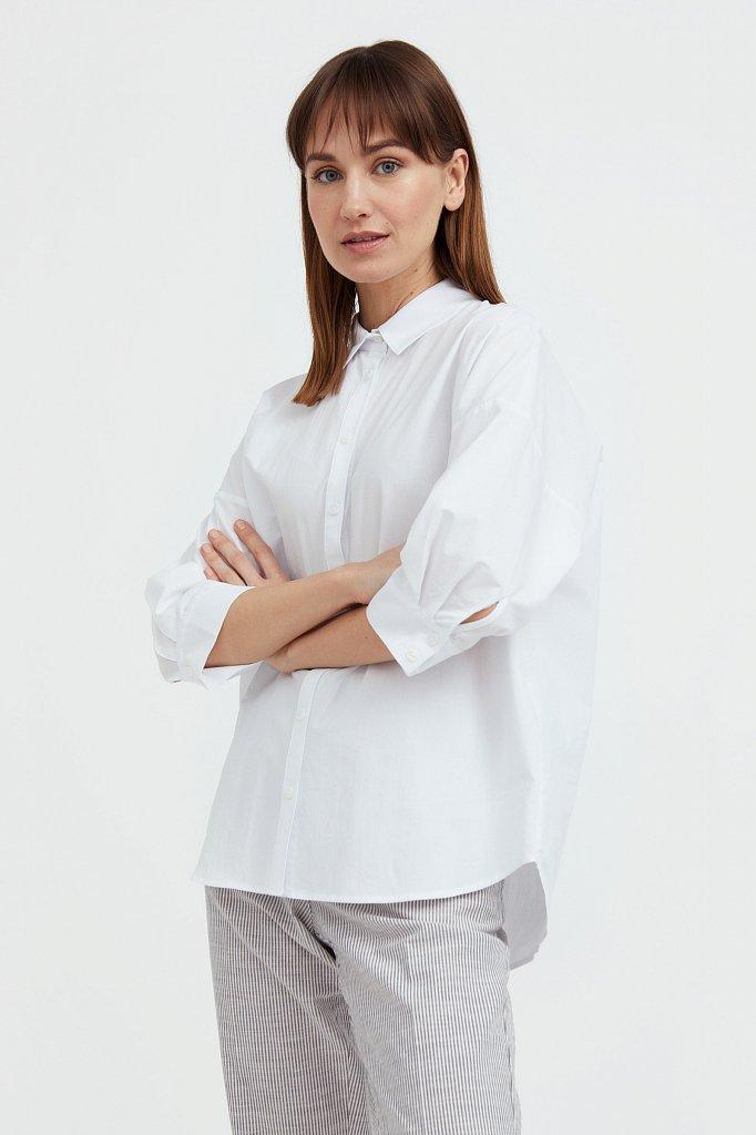 Свободная хлопковая рубашка, Модель S21-11029, Фото №4