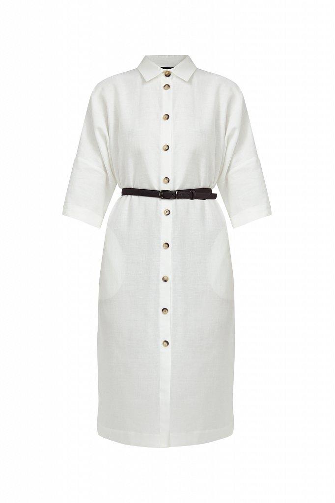 Платье-рубашка из хлопка и льна, Модель S21-11050, Фото №7