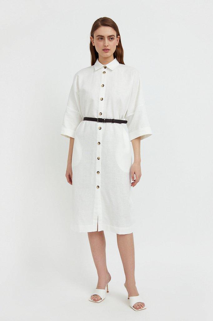 Платье-рубашка из хлопка и льна, Модель S21-11050, Фото №1
