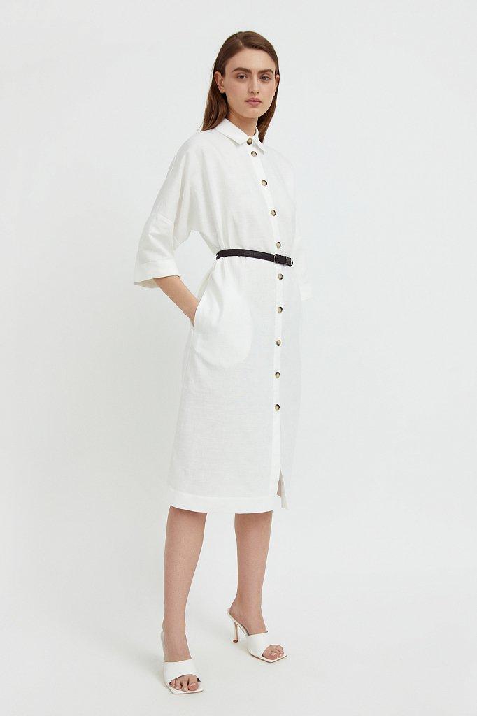 Платье-рубашка из хлопка и льна, Модель S21-11050, Фото №3