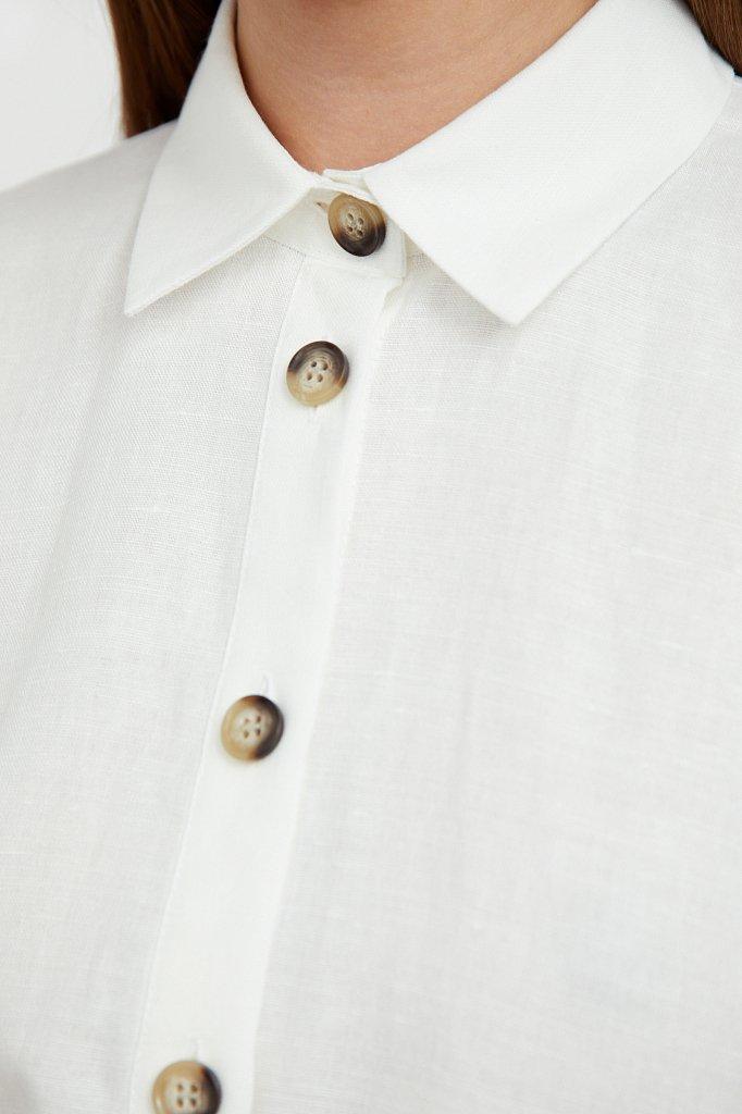 Платье-рубашка из хлопка и льна, Модель S21-11050, Фото №5