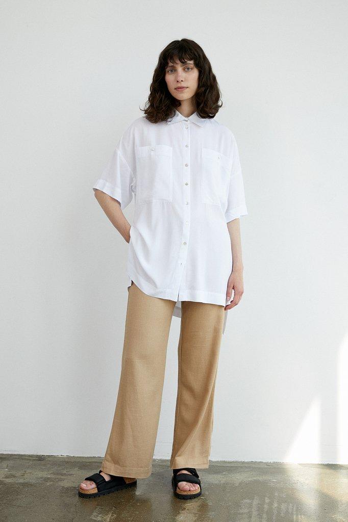 Однотонная рубашка оверсайз, Модель S21-11076, Фото №2