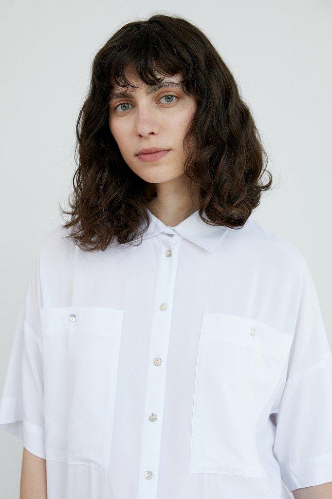 Однотонная рубашка оверсайз, Модель S21-11076, Фото №5
