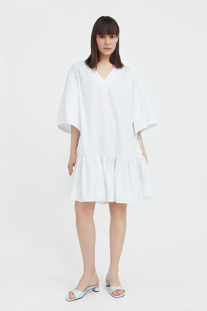 Хлопковое платье с объемными рукавами, Модель S21-11080, Фото №2