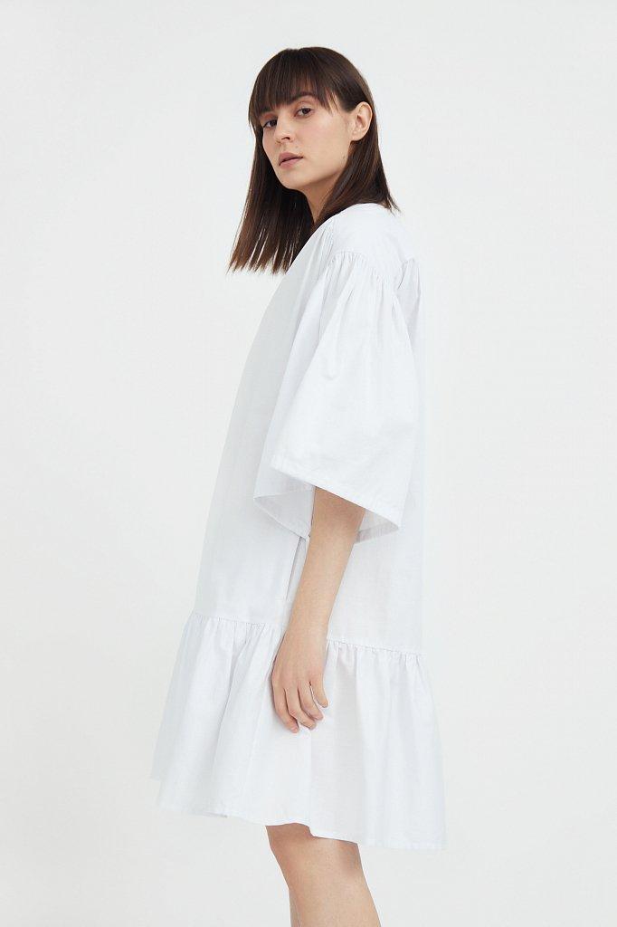 Хлопковое платье с объемными рукавами, Модель S21-11080, Фото №3