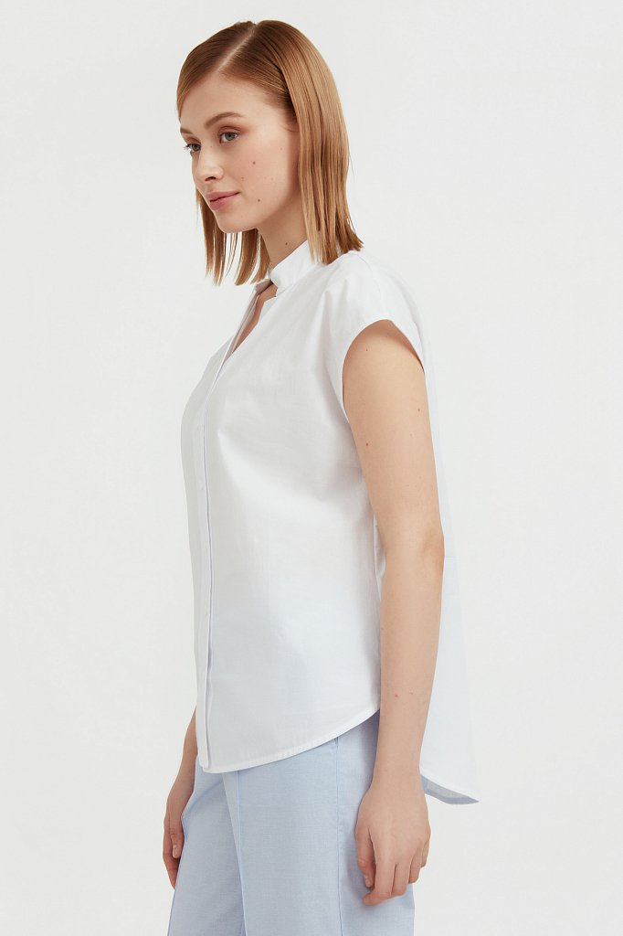 Хлопковая блузка с коротким рукавом, Модель S21-11083, Фото №3