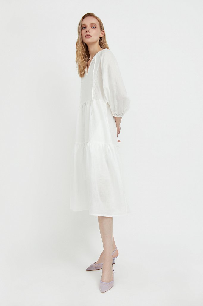 Платье миди с рукавами-буф, Модель S21-11095, Фото №3