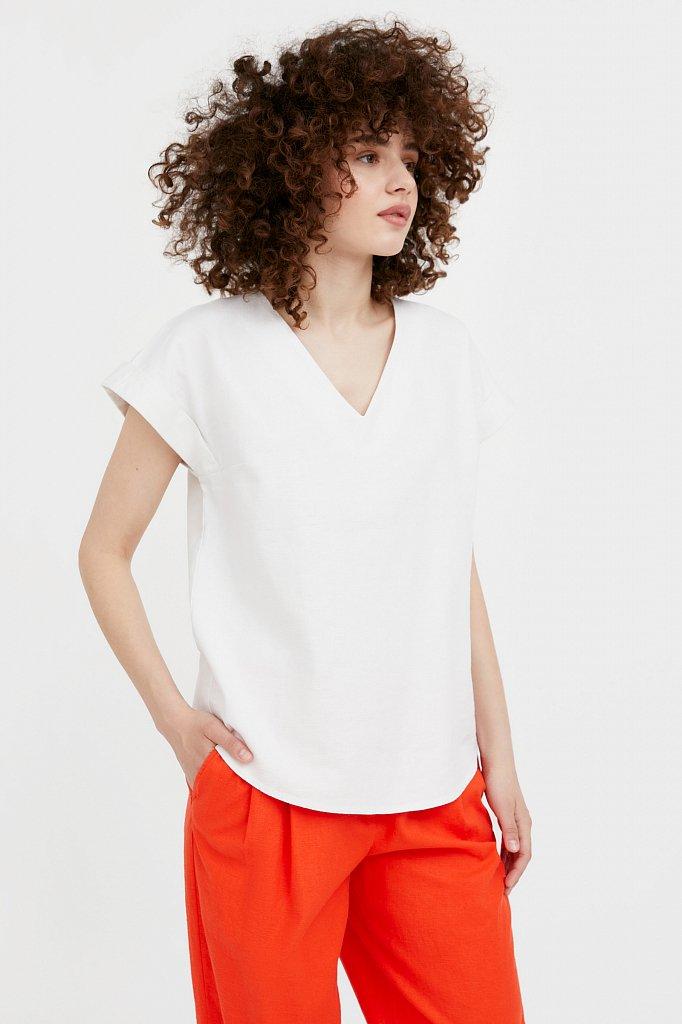 Однотонная льняная футболка, Модель S21-12017, Фото №1