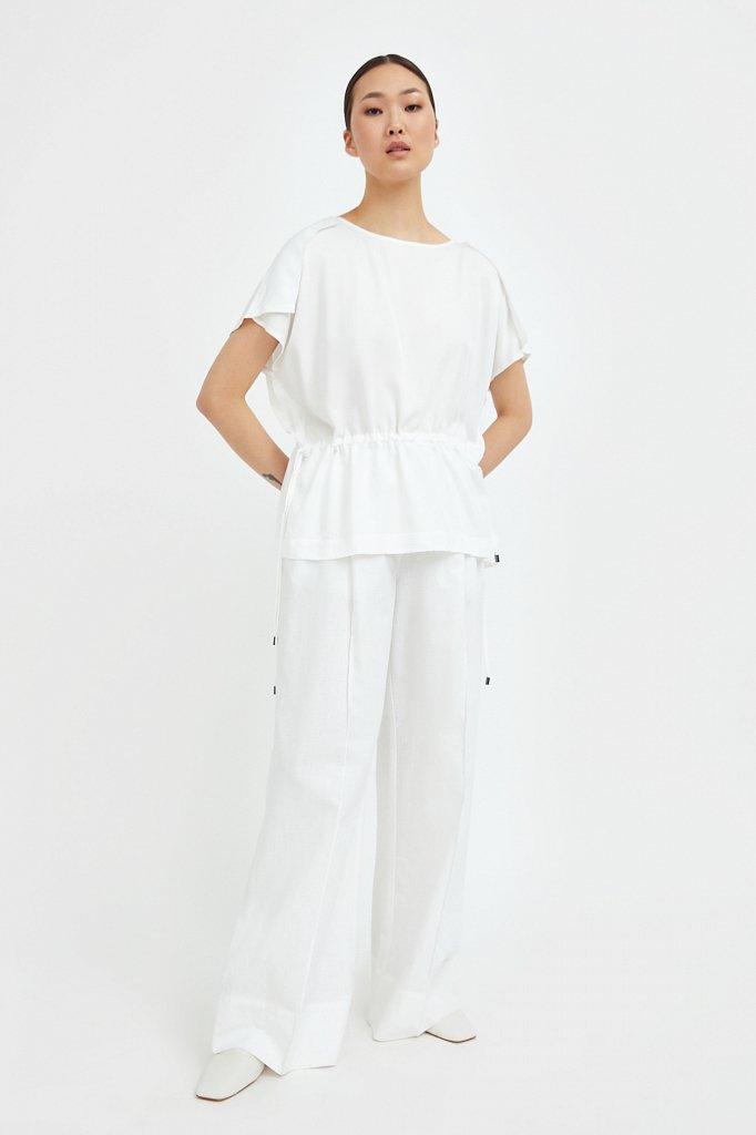 Однотонная блузка на кулиске, Модель S21-12024, Фото №1