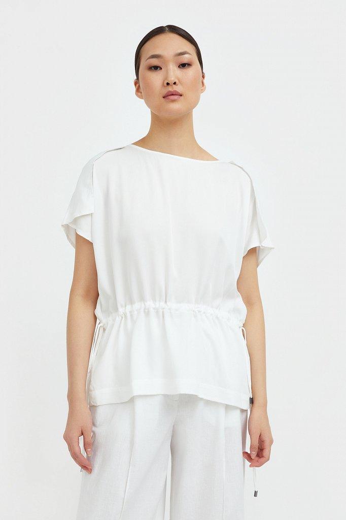 Однотонная блузка на кулиске, Модель S21-12024, Фото №2