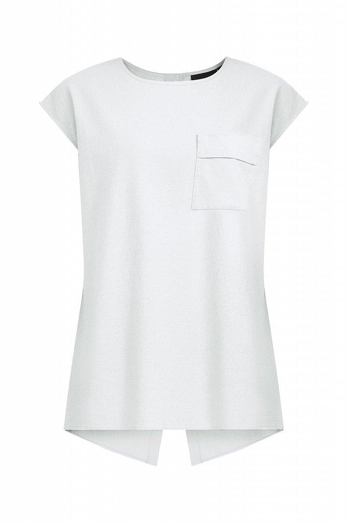 Льняная блузка асимметричного кроя, Модель S21-12026, Фото №7