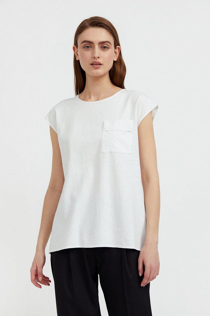 Льняная блузка асимметричного кроя, Модель S21-12026, Фото №1